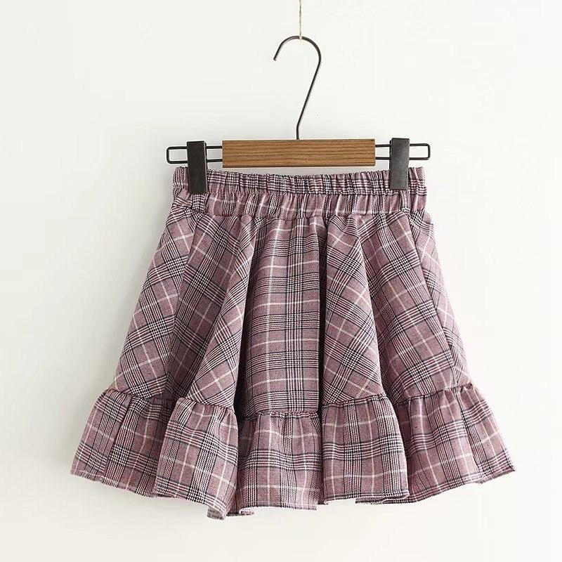 Estilo japonés nueva mujer Lolita falda de alta cintura a cuadros Mini faldas de algodón Saias lindo Kawaii Ruffles regalo de Navidad faldas