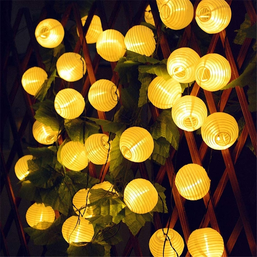 Thrisdar 30LED Lantern Ball Solar LED String Light Garden Wedding Garland Globe Ball Solar Fairy Light Holiday Solar Fairy Light