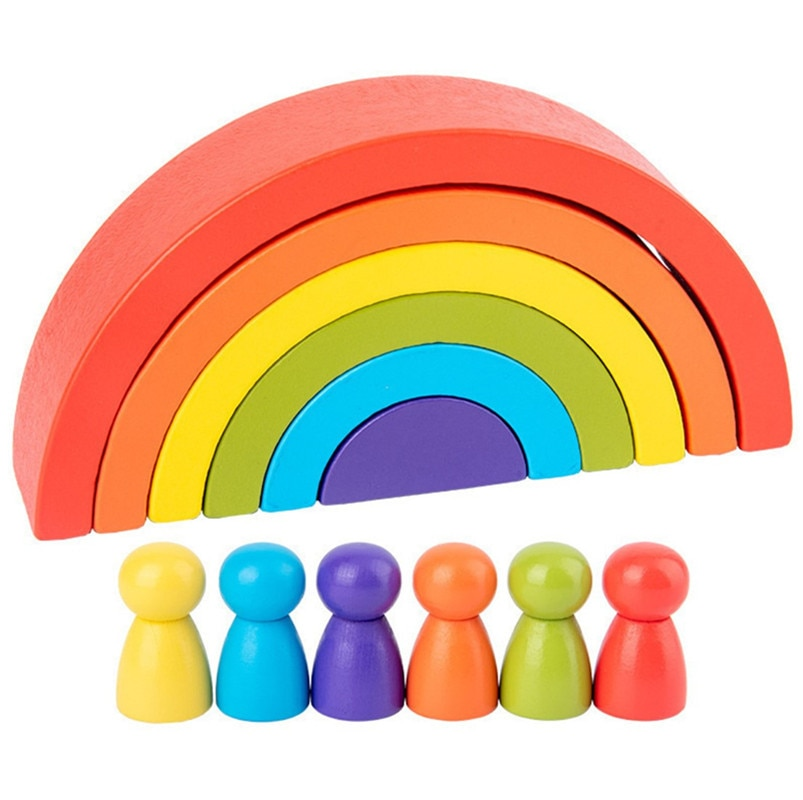 2021 latest children's wooden rainbow toy creative wood rainbow stacked balance blocks baby toy Mont
