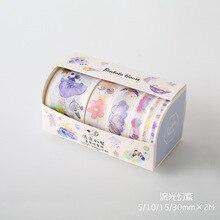 6 Rolls/Box Streamer Magie Lila Goldene Stempel Masking Washi Band Dekoration