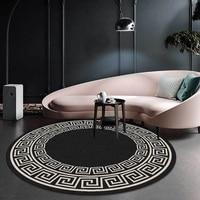 Коврики и ковры для дома, для гостиной, черно-белые, с геометрическим узором, в стиле ретро, круглый ковер, большой, для спальни, украшение для...