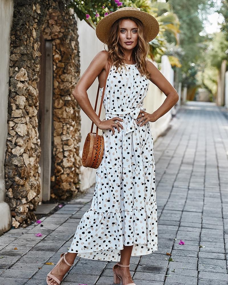Summer Sexy Beach Long Dress Women 2020 Fashion Print Flowers Polka-dot Strap Ladies Halter Boho Dress Women Dresses Vestidos