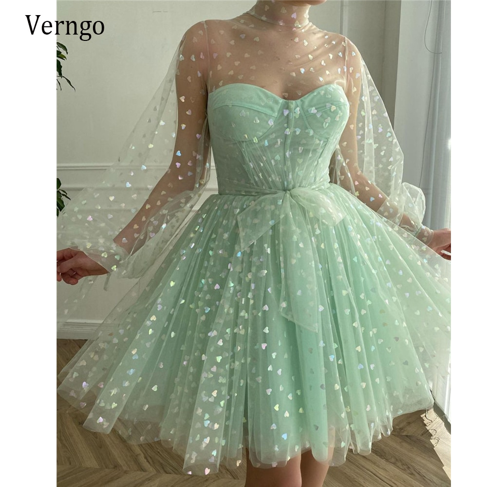 Verngo 2021 New Light Green Tulle Short Prom Dresses Puff Long Sleeves High Neck Ball Gown Homecoming Party Dress With Bow Sash