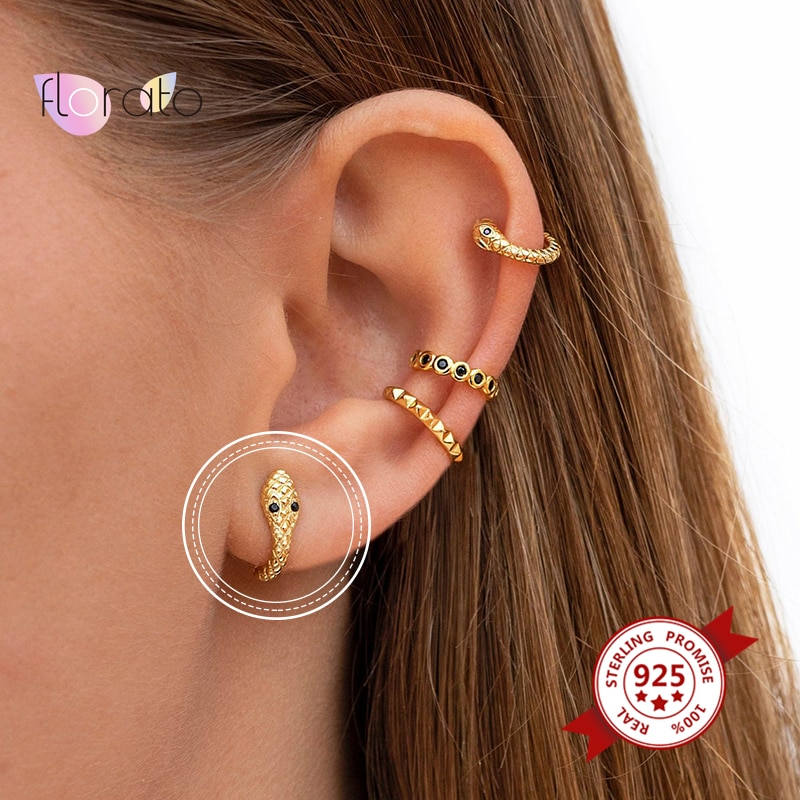 Simple Gold Silver Color Round Earrings 925 Sterling Silver Ear Buckle Small Hoop Earrings for Women Chain /Snake Circle Earring superwear 925 sterling silver hoop earrings with charm yellow gold color women men round coin pendant earring vintage jewelry