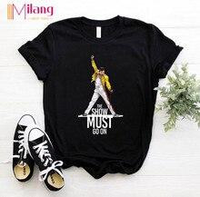 Femmes Freddie Mercury la reine bande noir T-shirts femme manches courtes T-shirts 2020 été marque Rock vêtements hauts pour filles