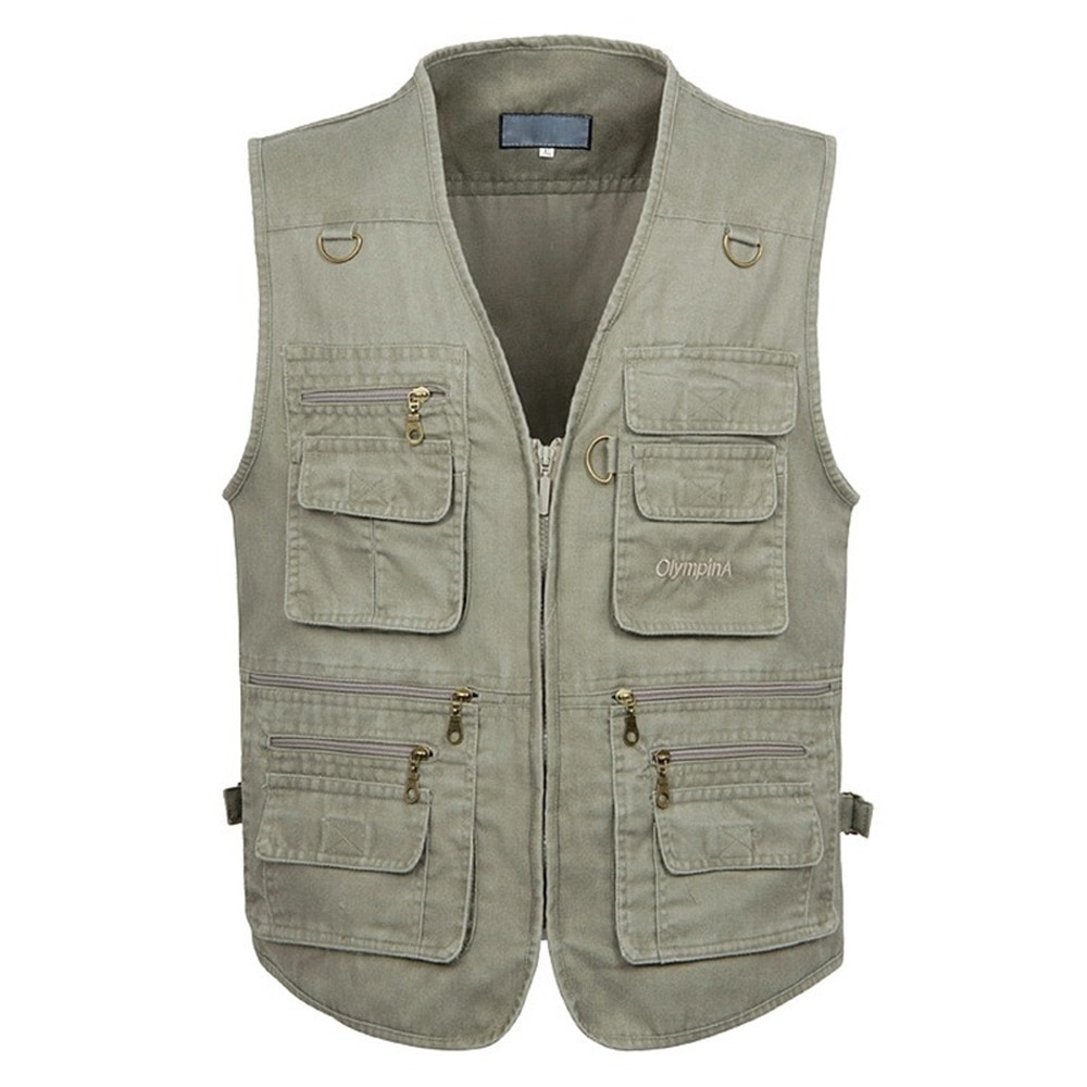 8XL 9XL 10XL New Male Casual Summer Big Size Cotton Sleeveless Vest With Many 16 Pockets Men Multi Pocket Photograph Waistcoat