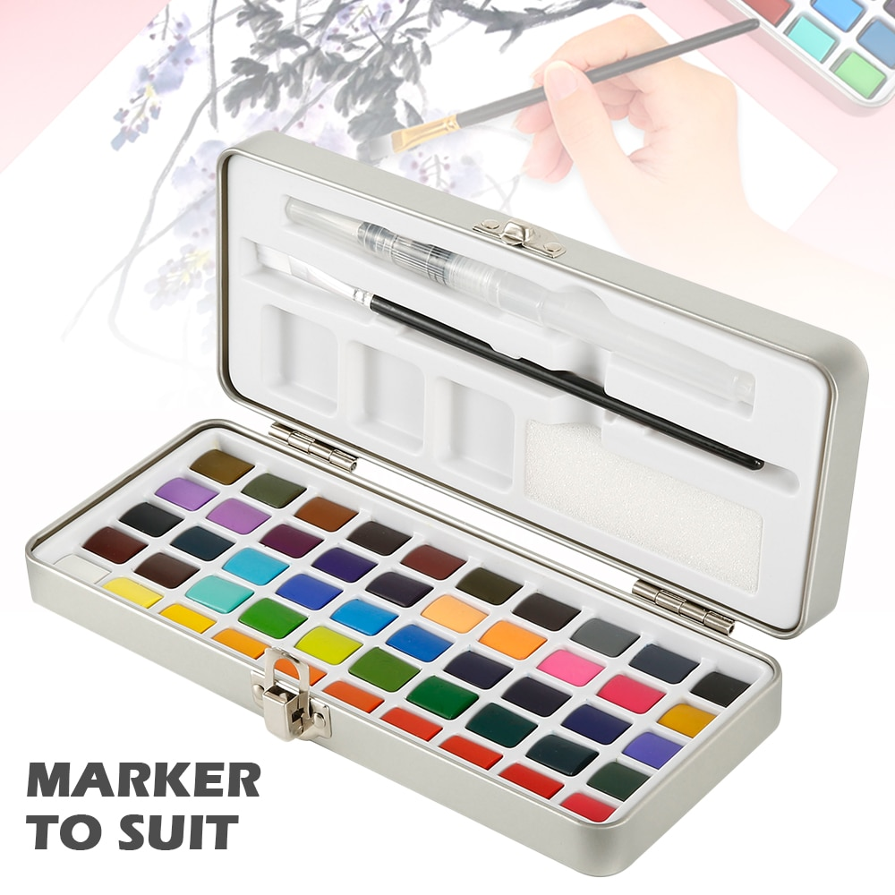 50/72color Solid Watercolor Paint Set Portable Box Travel Water Color Pigment for Beginners Enthusiasts Professional Drawing