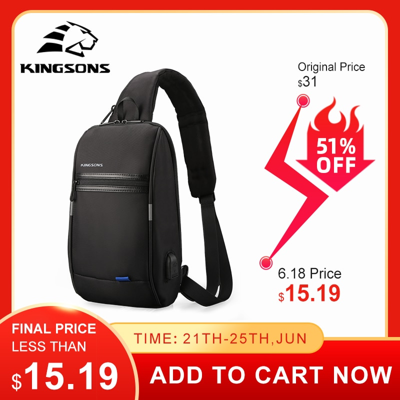 Kingsons Hot Chest Bag  New Anti-thief Crossbody Bag Water Repellent Shoulder Bags 10 inch Ipad Fashion Bags