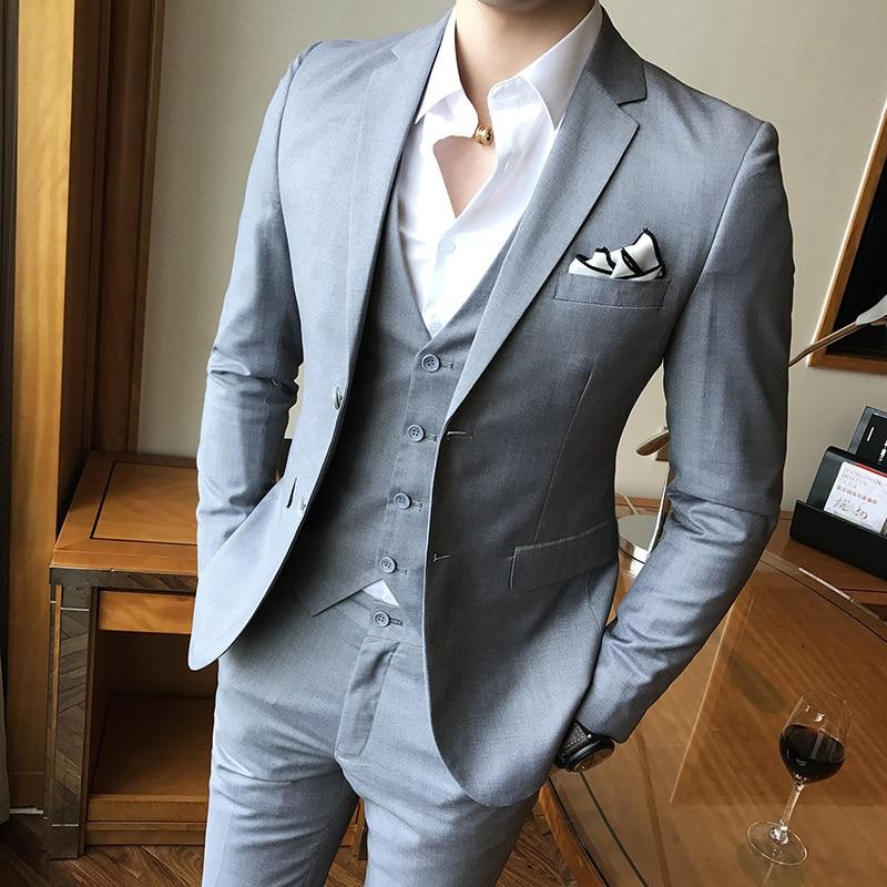 (Jackets+Vest+pants) 2019 Brand clothing Men High quality pure cotton business Blazers/Male slim fit suit three-piece S-3XL