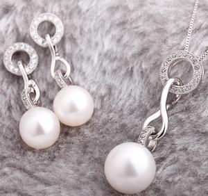 Fashion Crystal 925 Sterling Silver Natural Pearl Necklace Earrings Jewelry Sets for Women 2019 Obizuteria Zestaw Slubny Srebro