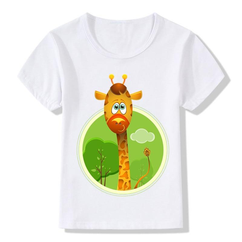 2018 Children Cartoon Cute Jimmy the Giraffe Funny T-shirt Kids Summer Tops T shirt Baby Girls Boys Clothes