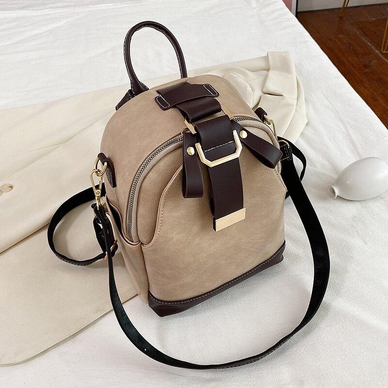 Vintage patchwork women backpack small Luxury design female shoulder bag ladies Totes PU leather schoolbag backpacks bagpack