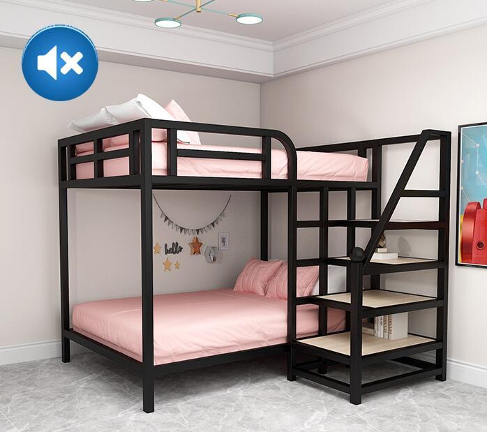 Cama elevada ahorradora de espacio para apartamento, litera, marco de hierro, pequeño,...