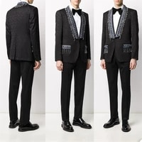 luxury crystal men suits two pieces modern printed custom made handsome wedding suits fit slim formal business coatpant