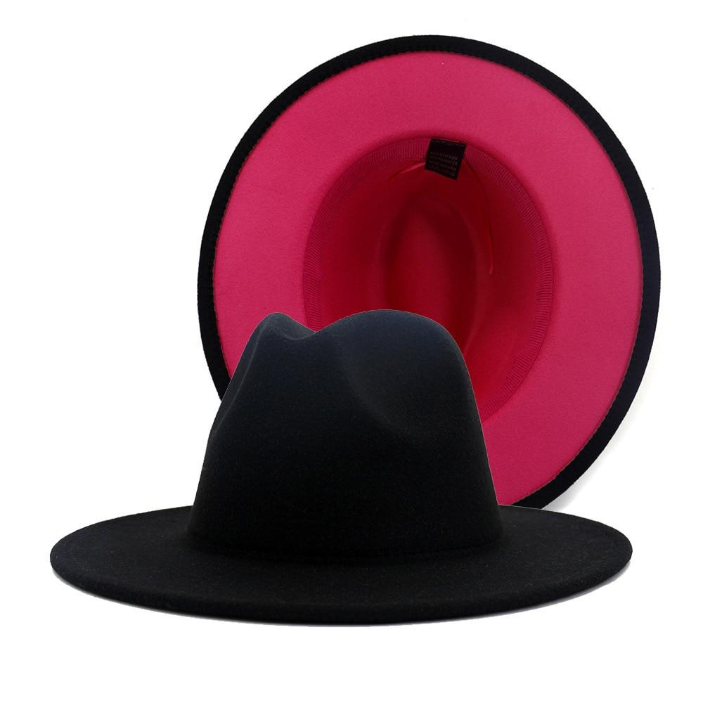 Hombres bowler sombreros mujeres estilo británico hombres y mujeres doble cara con color a juego jazz sombrero de lana nuevo sombrero plano
