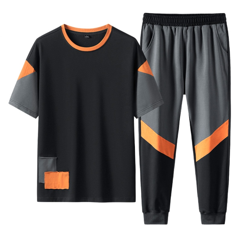 New Men's Sets 2021 Summer Casual Suit Men's Short Sleeve T-shirt Pants Popular Logo Clothes Handsome Tracksuits Dropshipping