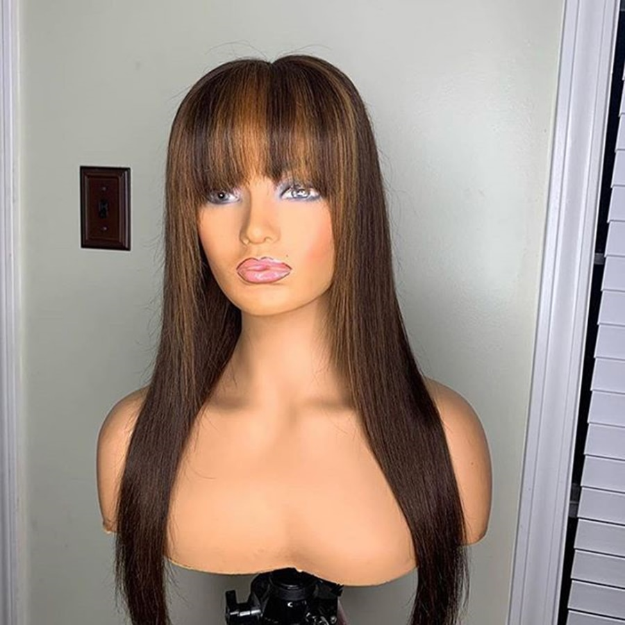 Highlight Brown Straight Full Machine Made Wigs With Bangs Brazilian Machine Made Wigs For Women Hum