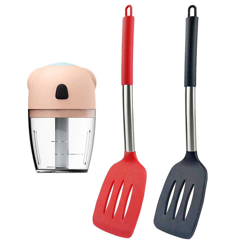 Silicone Spatula Set of 2 Non Stick Solid Kitchen Turner with Mini Electric Garlic Chopper Grinder Pink