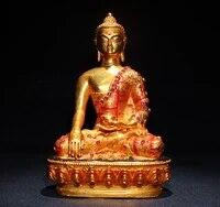 home decor 8tibet temple old bronze outline in gold mosaic corundum sakyamuni medicine buddha enshrine the buddha