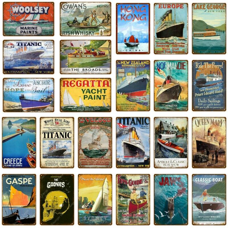 Klasyczne Titanic podróży łódź metalowe plakietki emaliowane nowa zelandia europa Hongkong Vintage tablica Pub Bar Club Home Decor plakat na ścianę YJ024
