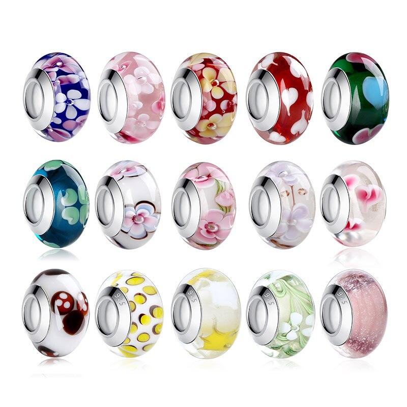 ¡Venta al por mayor! 1 unidad de cuentas de cristal de Murano de Color plateado con brillo europeo y marrón para mujer, pulsera a la moda PA6366