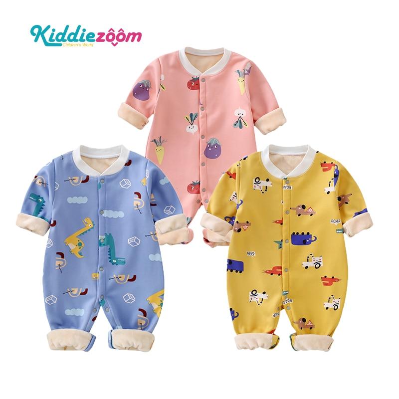 Детский бархатный комбинезон унисекс с мультяшным принтом, Осень зима 2020, хлопковая теплая Пижама для маленьких мальчиков с длинным рукавом и круглым вырезом, Пижама для маленьких девочек|Ромперы| | АлиЭкспресс