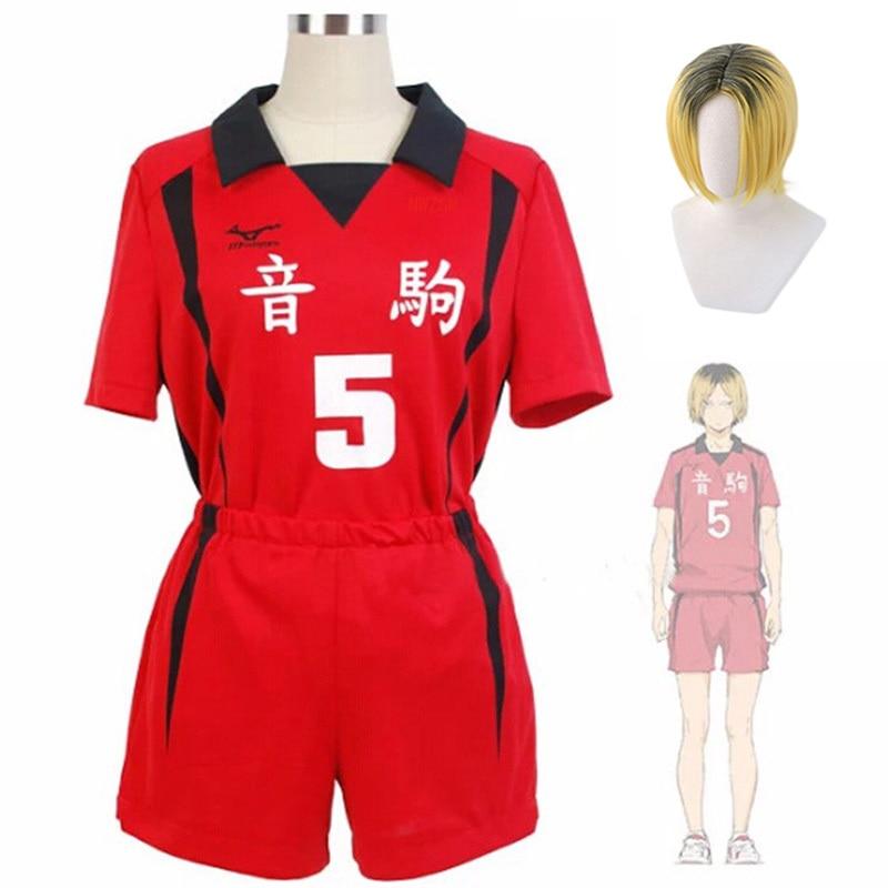 Anime Haikyuu Cosplay Costume Nekoma High Uniform Kozume Kenma Volleyball Club Uniforms T-shirt Suit Sportswear Jerseys With Wig