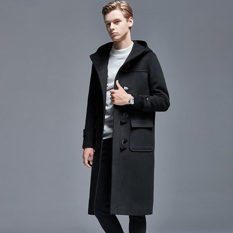 Abrigo de lana con botones de cuerno de invierno para hombre, abrigo largo sobre la rodilla suelto, chaqueta de lana con capucha, gabardina gruesa para hombre, abrigos y chaquetas 5XL 6XL