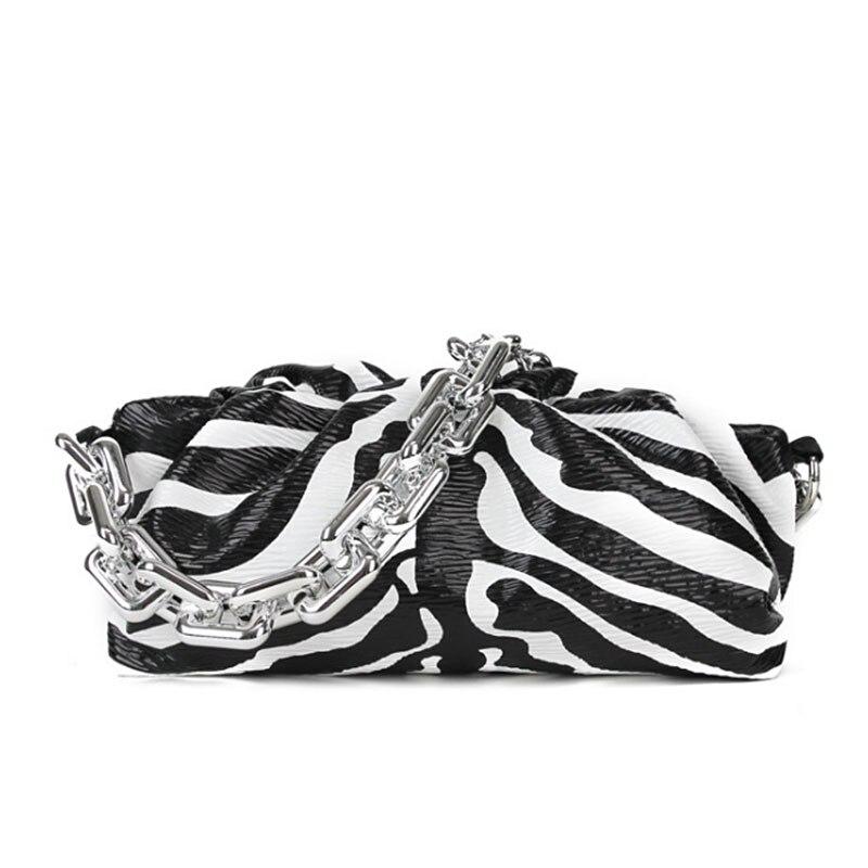 New Lady's bag Genuine Leather Women's Handbags Designer Women Bag On The Shoulder Thick Chain Crossbody Zebra Cloud Bag