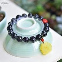 genuine natural black rutilated quartz bracelet 10 1mm round beads women men fashion best wealthy amber pendant aaaaa
