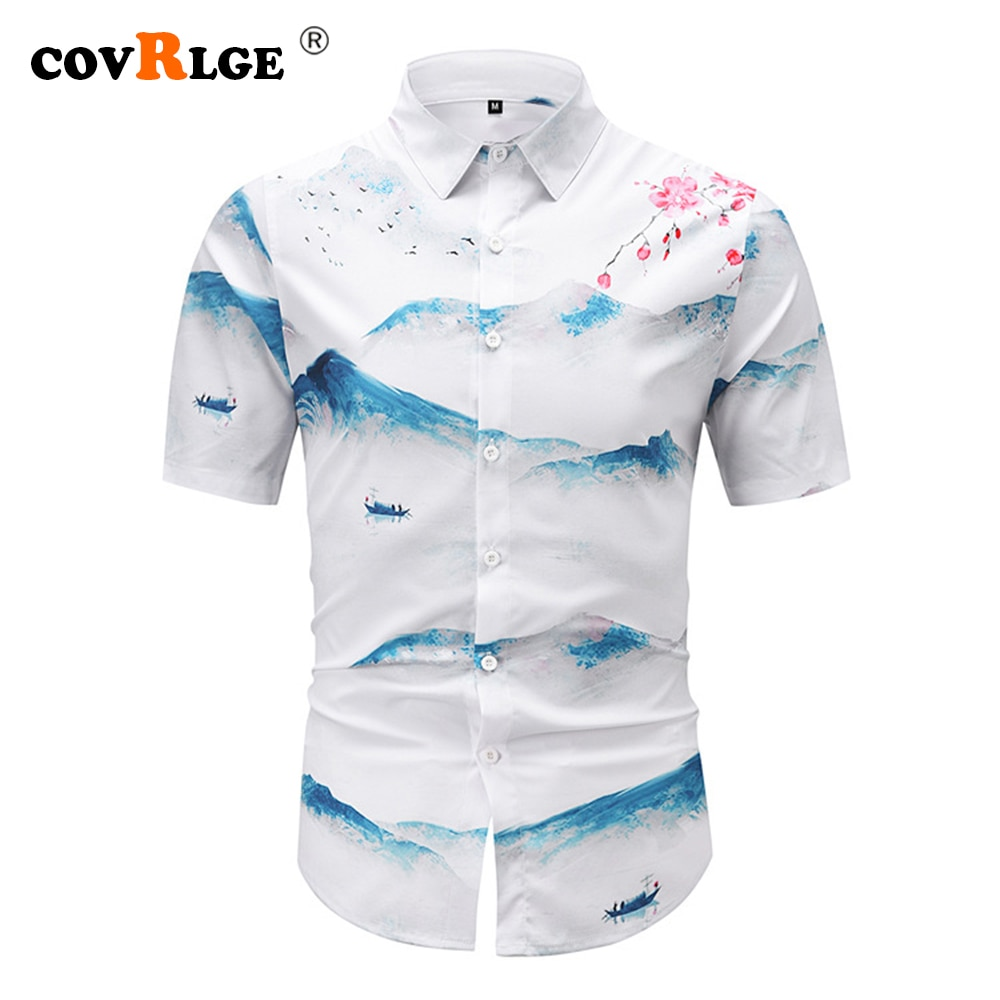 Covrlge Summer Chinese Style Short-sleeved Shirt Men's Tide Large Size Casual Shirt Landscape Painting Printing Shirt Men MCS138