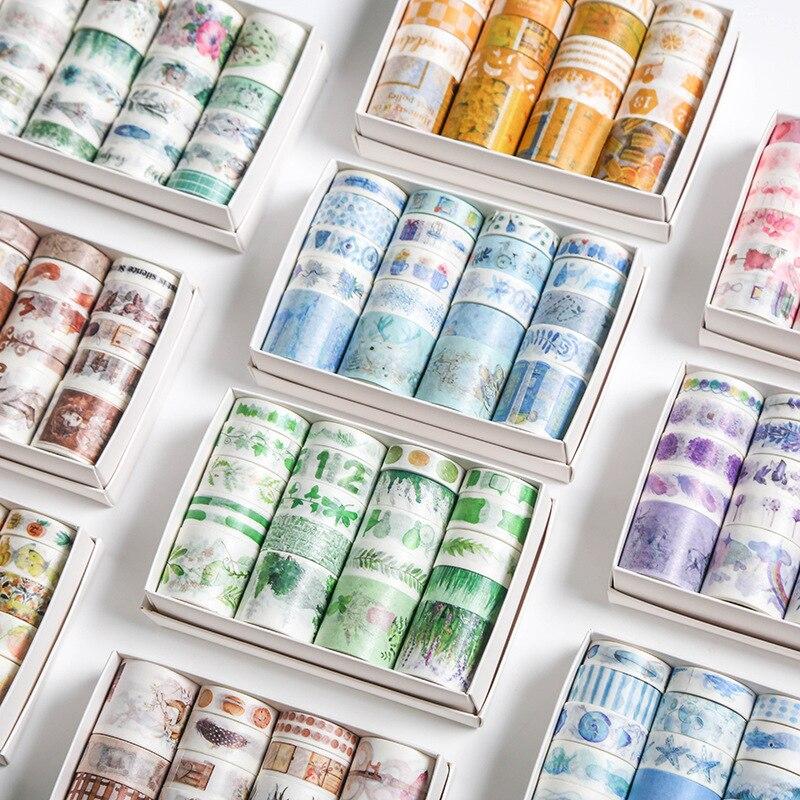 20 rollos de regalo etiqueta para paquete conjunto de cintas Washi Kawaii Ocean Star bosque Sakura pegatinas de postres Scrapbooking cintas de enmascarar