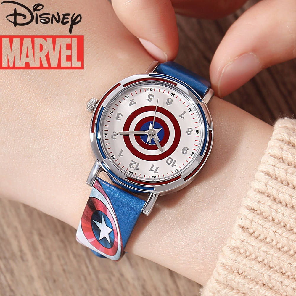 Original Marvel Avengers Children's Watch Captain America Shield Quartz Watch Waterproof Fashion Wrist Watch for Kids