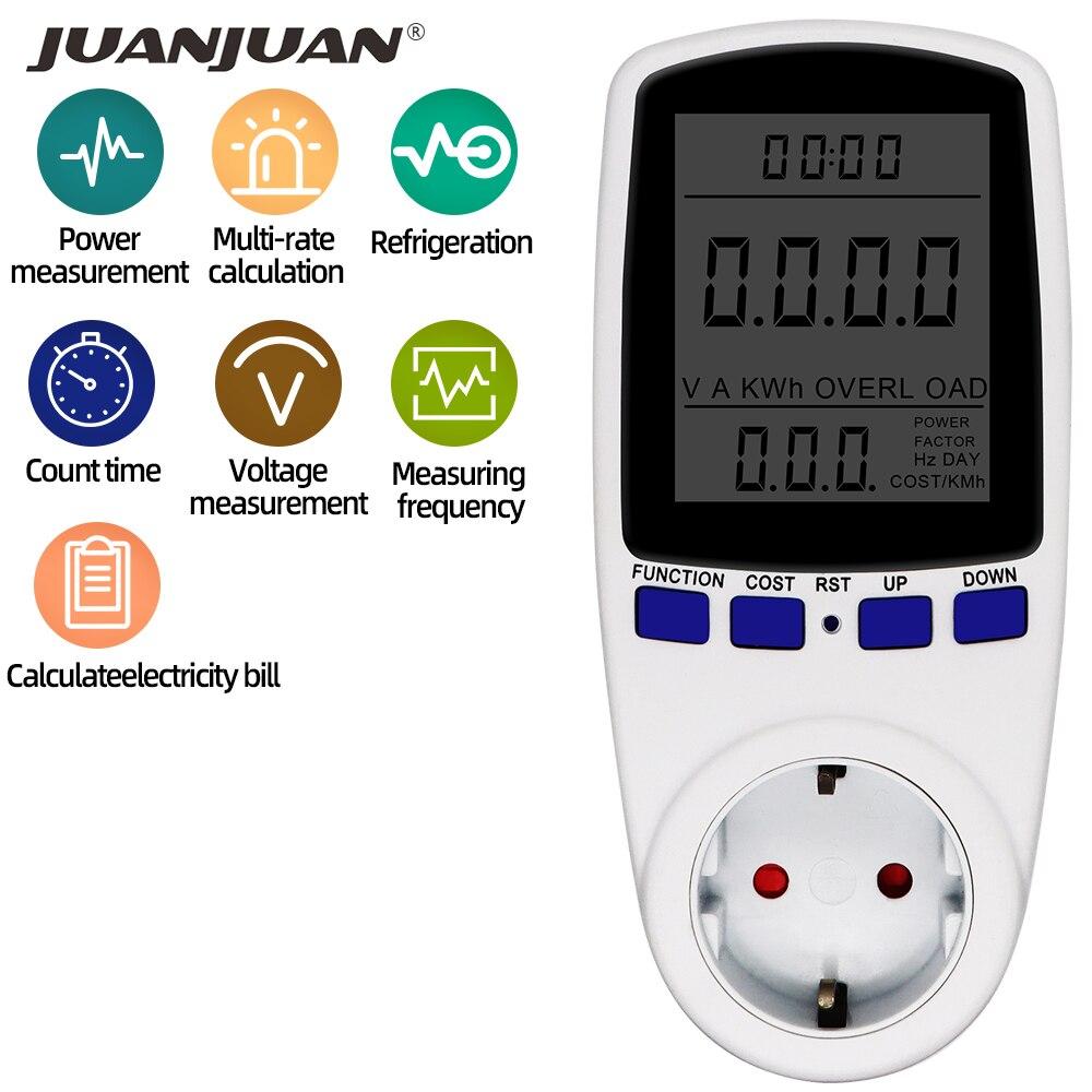 Power Meter EU Plug Wattmeter Watt Monitor 230V 50HZ 16A digital Measuring Outlet Wattage Power Kwh Analyzer Energy Meter
