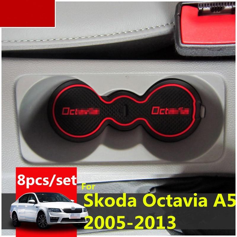 Almofada de borracha para porta 3d, tapete de interir antiderrapante para carro skoda octavia a5 2005-2013