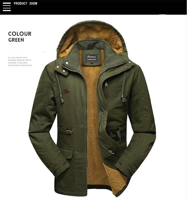 Фото - Мужские зимние куртки 2021, хлопковое пальто с капюшоном средней длины, свободное Мужское пальто большого размера из флиса, утепленное пальто пальто средней длины с капюшоном
