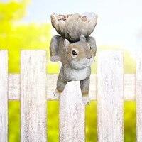 resin squirrel shaped garden decoration bird feeder woodland garden courtyard decoration