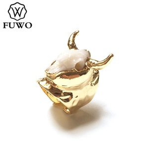 FUWO Trendy Women Resin Copper Animal Bull Rings Elegant Carved Gold Color Fashion Jewelry Fit Female Wedding Party RG025