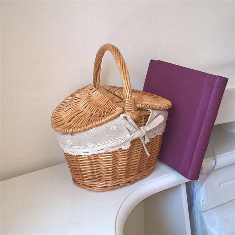 Novo artesanal tecido rattan cesta com alça e tampas duplas acampamento piquenique recipiente de armazenamento alimentos organizador mc