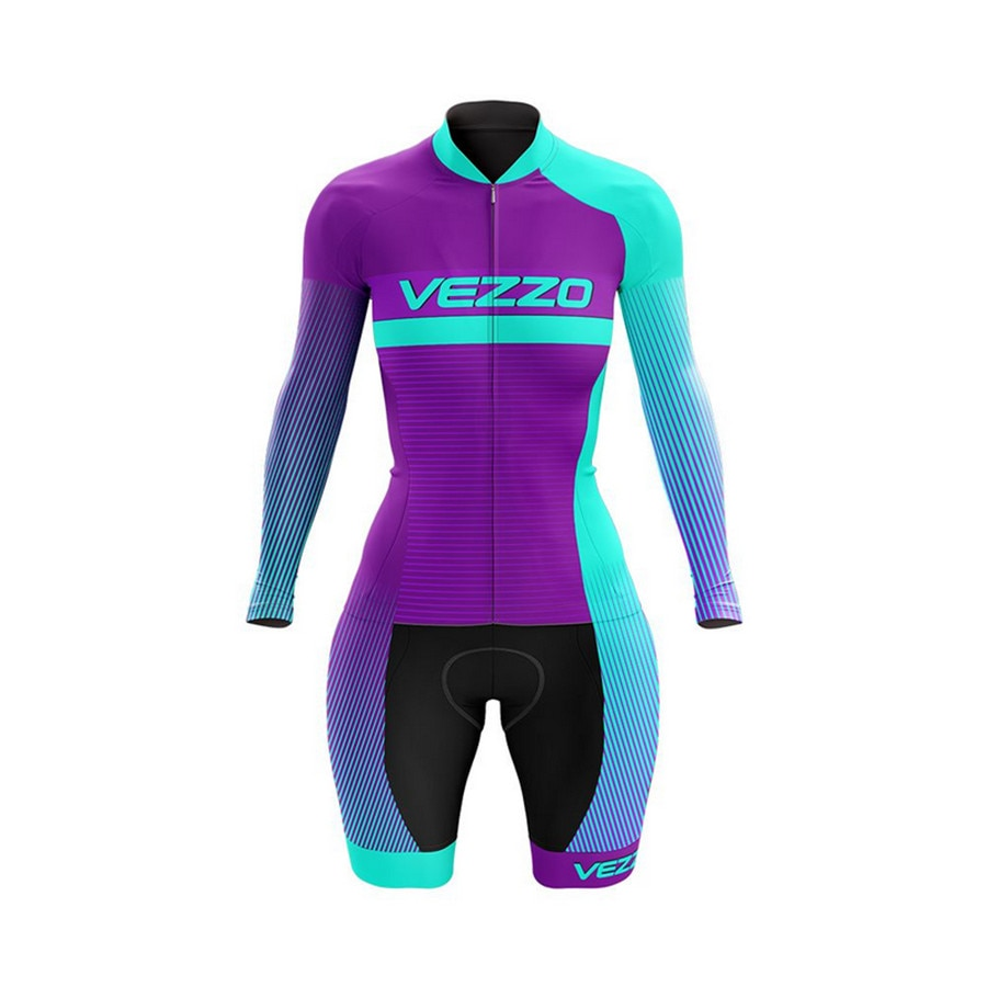 VEZZO-Mono De Ciclismo De manga larga para mujer, ropa De Ciclismo De...