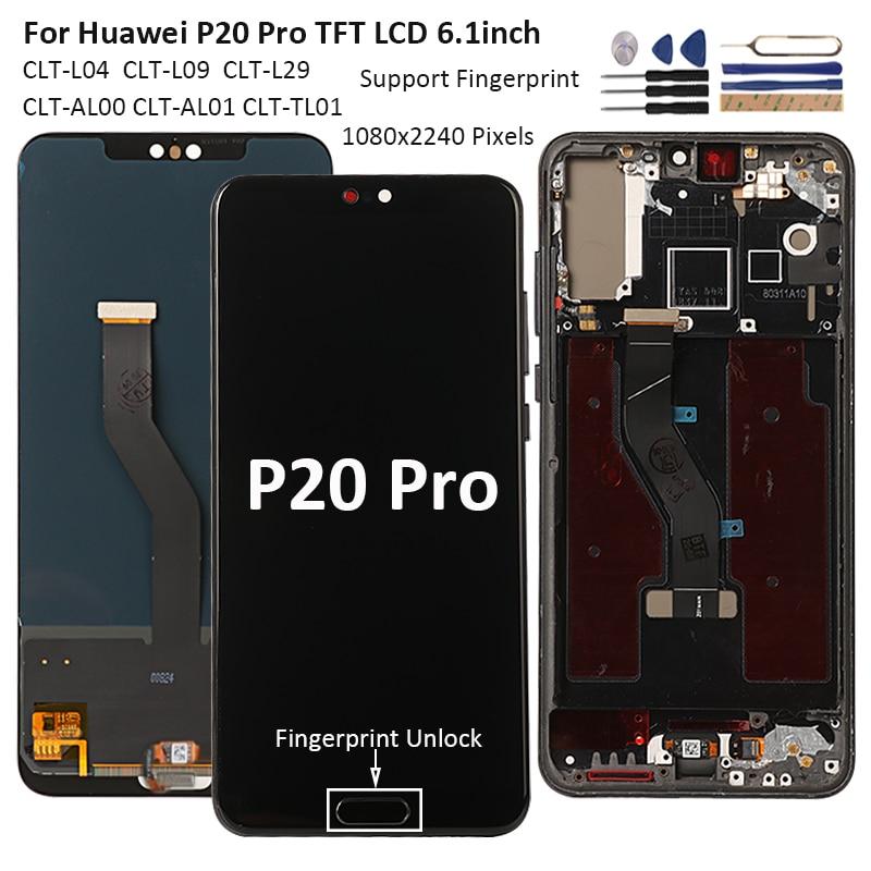 شاشة 6.1 بوصة لهاتف هواوي P20 برو شاشة مختبرة شاشة LCD تعمل باللمس لهاتف هواوي P20 برو LCD استبدال بإطار + بصمة
