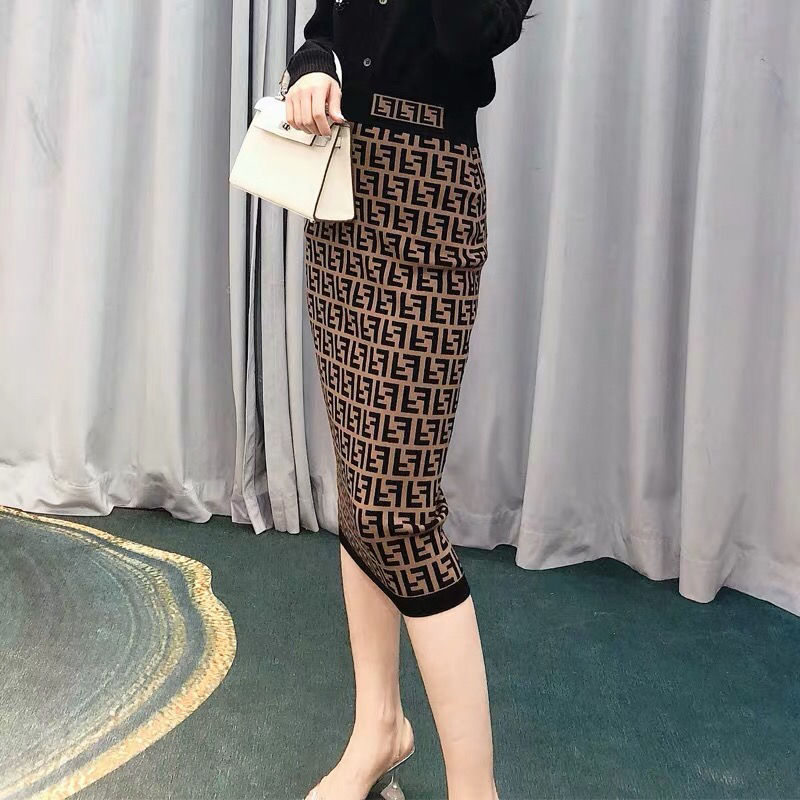 2021 New Presbyopia Letter Knitted Skirt with Double F High Waist and Thin Jacquard Elastic Buttocks
