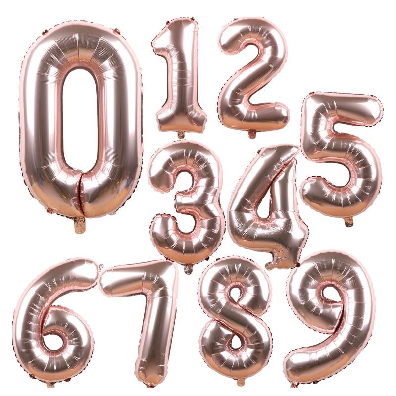 40 polegada rosa ouro número da folha balões grande dígito hélio balões decorações de casamento feliz aniversário festa suprimentos do chá de fraldas