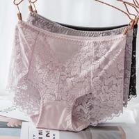 ladies sexy mesh panties high waist seamless lace underwear briefs transparent silk women cotton health knickers lingerie xxxl