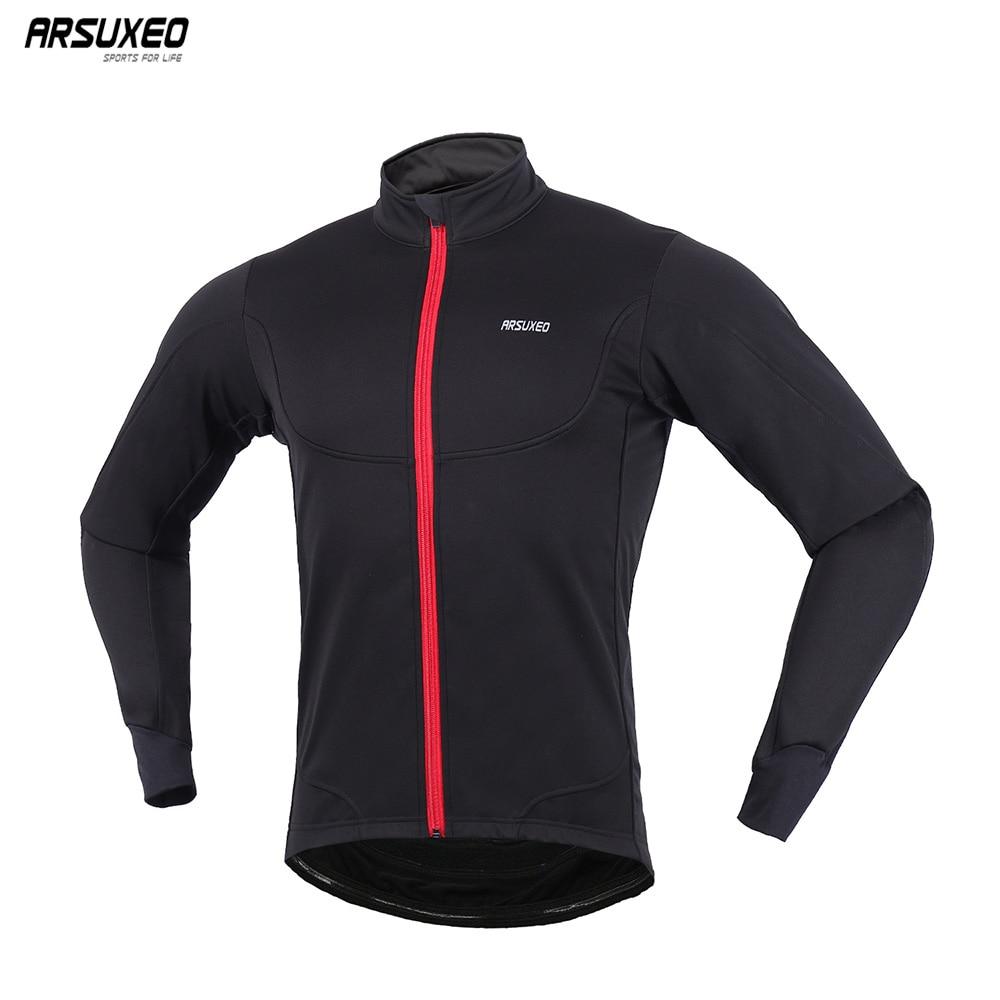 ARSUXEO Мужская велосипедная куртка зимняя теплая MTB светильник ветровка