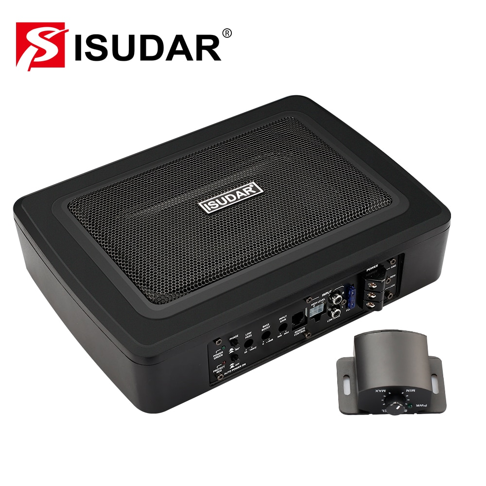 ISUDAR SU6901 Car Subwoofer Amplifier Built-in Power Active High and Lower Level Hifi Auto Audio Bass Seat Slim 150W 6*9 10 600w active car subwoofer audio speakers amplifier ultra thin subwoofer bass amplifier auto surround sound car audio system