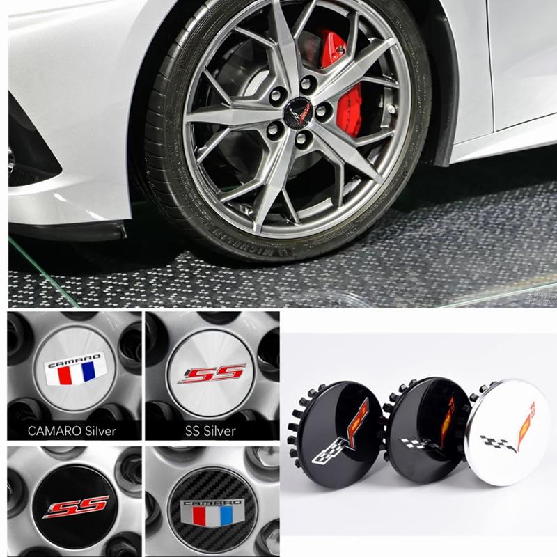 Cubiertas de centro para rueda de coche de fibra de carbono ABS, con Logo de letra SS de 68mm, para Chevrolet CAMARO Corvette, Auto Decro, tapacubos, Assessoires 4 Uds.