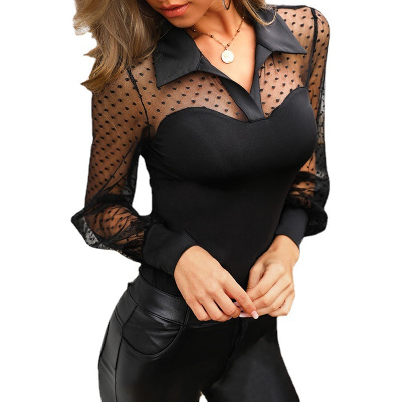 Long Sleeve Chiffon Blouses Women Spring Autumn Sexy Shirts Black Polka Dot V Neck Puff Sleeve Lace Gauze Slim See Through Tops