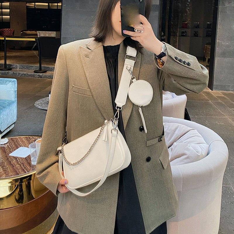Fashion Chains Women Shoulder Bags Designer Handbags PU Leather Crossbody Baguettes Bag Woman Small Purses Female Clutch 2 set