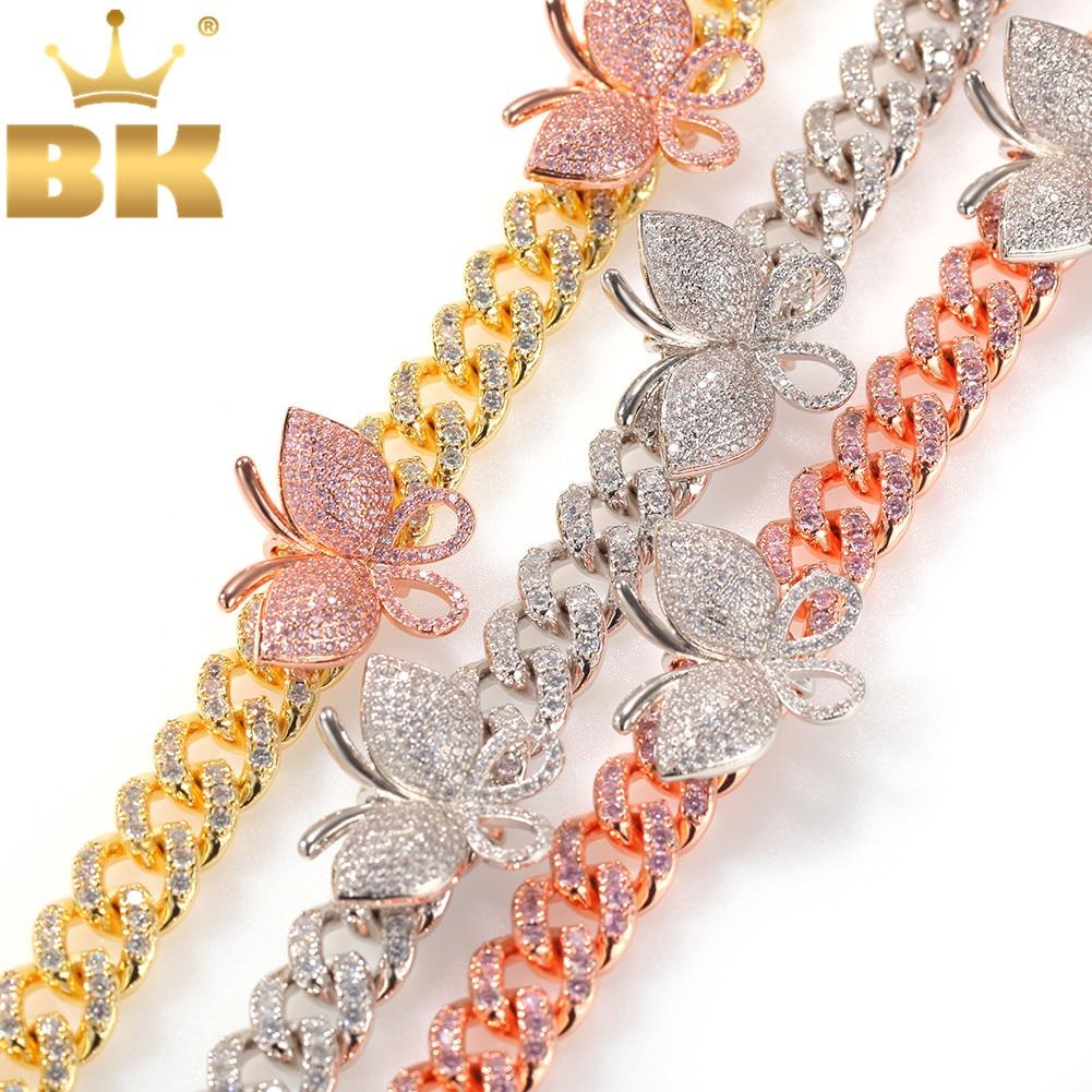 O bling king feminino borboleta pingentes 12mm cubana rosa borboleta colar rosa ouro rosa cz luxo bling bling hiphop jóias